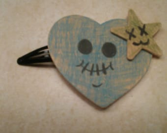 Wooden Zombie Heart Hair Clip