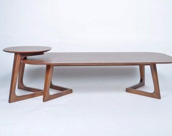 Mid Century Modern Coffee Table Set Wooden Walnut