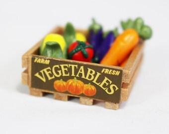 1 Miniature Wooden Crate With Handmade Miniature Vegetables, Dollhouse, Miniature Garden, Fairy Garden, Kawaii