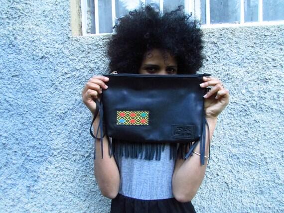 soft  leather clutch, fringe leather bag, black Evening bag,fringe wallet, mini Evening bag, large wallet, Elegant clutch
