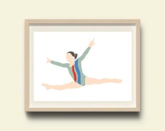 Girls wall art, printable wall art, girls room decor, girls wall decor, girl gymnastic wall print, instant download girls room, download art