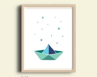 Paper Boat art, paper boat printable, paper boat kids room decor, origami boat, nursery nautical decor, modern minimalist kids art, 8 X 10