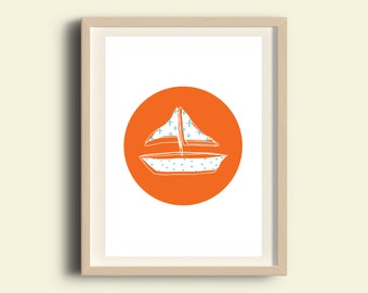 Wall art prints, kids art print, wall art printable, nursery wall art print, download printable kids, boat, nautical, orange, blue, circle