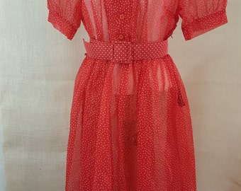 Sheer Red, Swiss Dot 1950's Vintage Dress