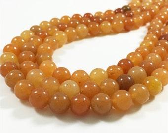 8mm Orange Aventurine Beads, Round Gmesotne Beads, Wholesale Beads