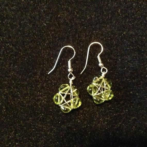 Light Green Star Earrings