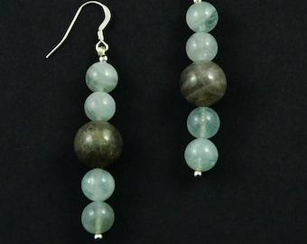 Labradorite, Aquamarine, 925 sterling silver earrings