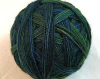 Hand-dyed sock yarn stripes pattern