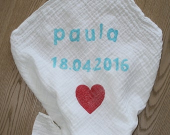 Burp cloth with name and date of birth