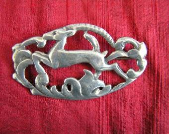 Art Nouveau Sterling silver gazelle ibex vintage brooch