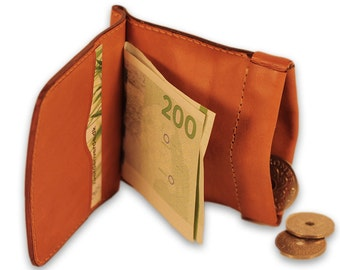 Leather coin wallet, Leather coin purse, Leather clam purse, Leather coin pouch, Men coin purse, Leather clam wallet, Grandad coin wallet