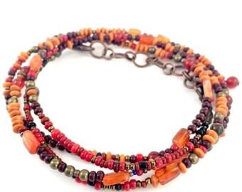 Mens Slim Bracelet or Necklace- Burnt Orange and Copper