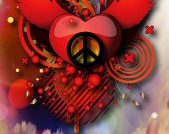 Note Cards, Peace Sign, Flying Peace Heart