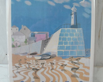 A4 wood print : Smeatons Pier. St Ives