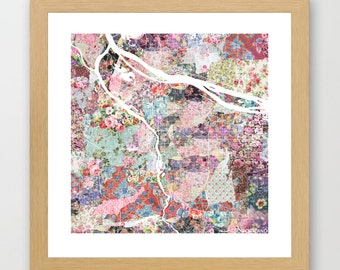 Portland map | Portland Painting | Portland Art Print | Portland Poster | Oregon map | Flowers compositions