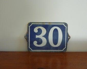 Old blue enamelled plate, street number: 30