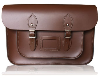 """14"""" Classic Leather Satchel 100% Real Leather - Chestnut Brown"""