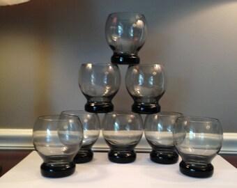 Vintage Mid Century Gray Smoke Glass Lowball / Drink Glasses