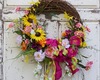 Mother's Day Wreath, Wild Flower, Spring Wreath, Summer Wreath, Cottage Chic, Shabby Chic, Door Wreath, Door Decor