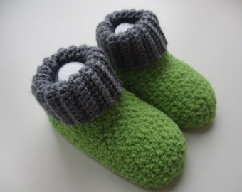 Crochet lime green and grey baby booties with cuff, 3-6 months