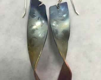 Long Titanium Multicolored Earrings