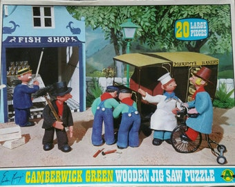 Boxed Vintage BBC childrens original 1970s  Camberwick Green 20 piece wooden jigsaw puzzle no 3