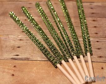 Green Bling Sticks- Set of 12