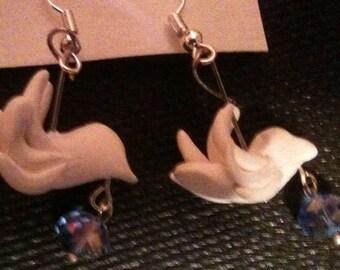 Hand clay dove earrings