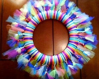 NEW FAV! Wild Colors tulle wreath with BRAIDS! Super Cute.