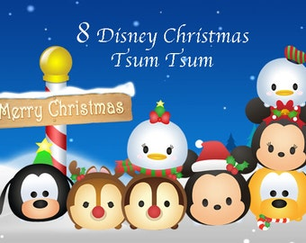 CHRISTMAS Tsum Tsum Clipart. 8 High Resolution Digital Clipart. Christmas Party. Party Supplies.