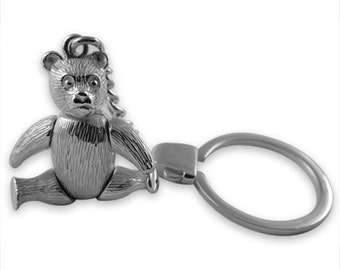 Sterling silver Moveable Teddy keyring