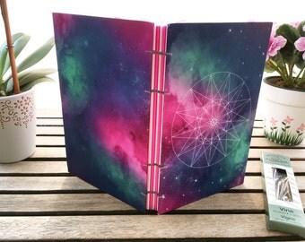 Geometric Pink Green and Blue Galaxy Blank Journal
