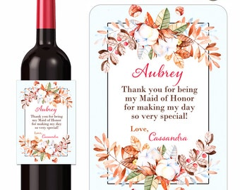 Autumn Wine Labels Thank You Bridesmaids Maid of Honor Wedding Party Leaves Cottonballs Acorns Fall Floral Custom Beverage Label Waterproof