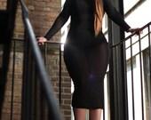 Blacked Out Sheer Mesh Medi Dress