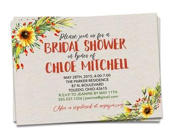 Bridal Shower Invitation - Wedding Shower Invitation - Wildflower Shower Invitation - Custom Invitation - Wildflower Bridal Shower