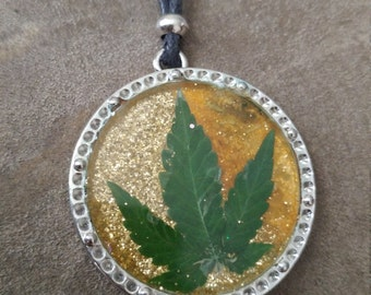 SALE!! Real Cannabis Leaf Necklace - Gold