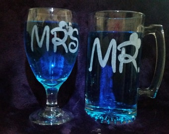 Hand etched glass