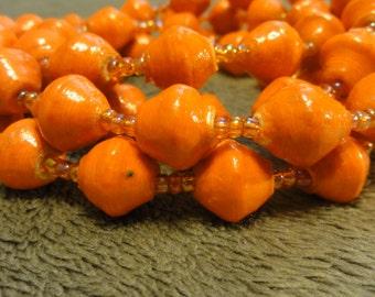 Ugandan Beaded Necklace Orange - Adoption Support