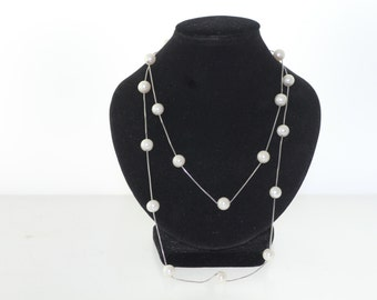 Long Sterling Silver 925 Chain and White Fresh Water Pearl Necklace
