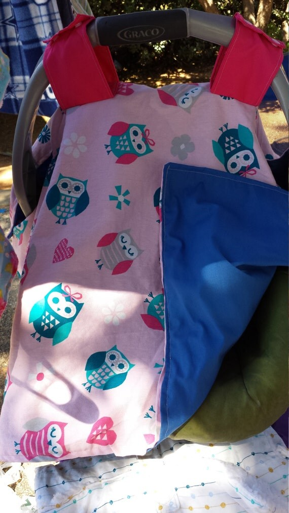Hot Pink and blue Owls with Grey Flowers Baby Girl All Cotton Summer Car Seat Canopy & anitchtostitch