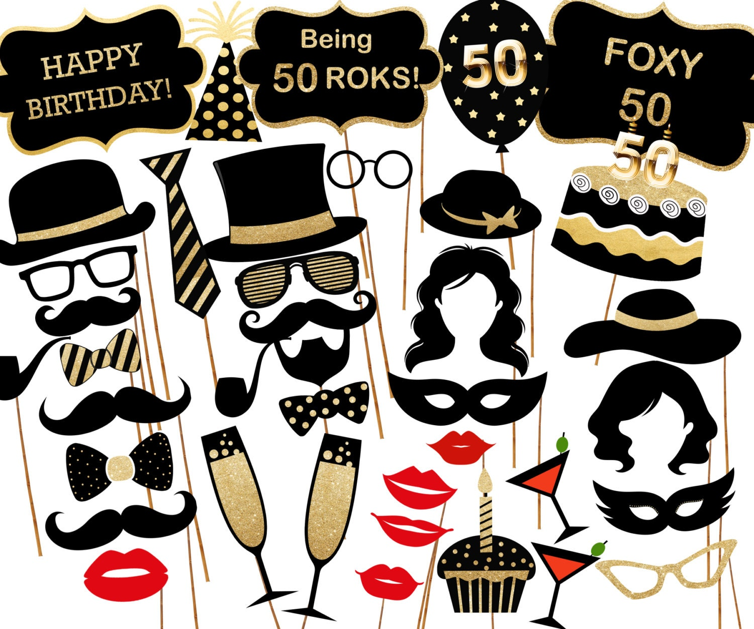 50th Birthday Photo Booth Props: PRINTABLE PARTY By