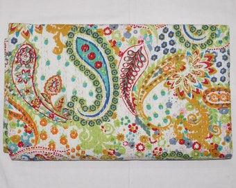 Paisley White Kantha stitched bedspread Queen Size