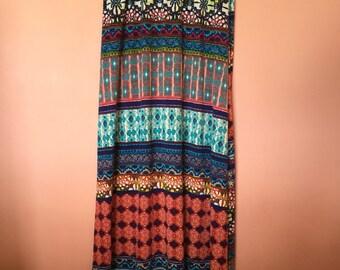 Hippy Summer Aztec Print Maxi Skirt