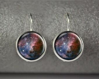 Space Nebula earrings, Galaxy earrings, Astronomy jewelry