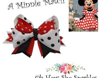"Super Stacked 5"" Bow/Disney/ Girls Hair Clip/ Hair Bow / Barrette/ Babys Bows/ Girls Bows / Minnie Mouse Hair Bow/Red Black White Hair Bow"