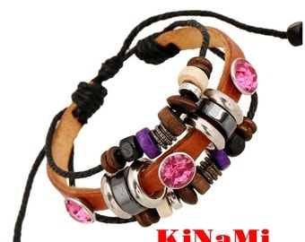 Leather Bracelet Wristband Pink Bead Rope