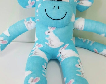 Handmade Bunny Rabbit Sock Monkey Doll