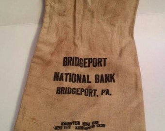 Bridgeport national bank; bridgeport, pa; bank bag; deposit bag, money bag; canvas bag; bank collector; industrial decor; bank collectibles