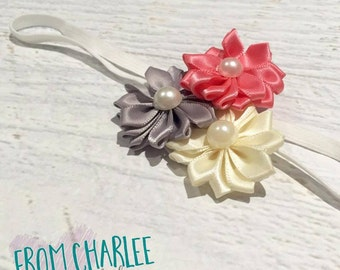 Watermelon, Ivory & Grey Headband - Handmade