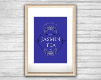 Affiche JASMIN TEA  - Poster Thé Tigre Inde Cachemire Bleu - affiche deco, impression art, Illustration, Art mural, illustration tendance
